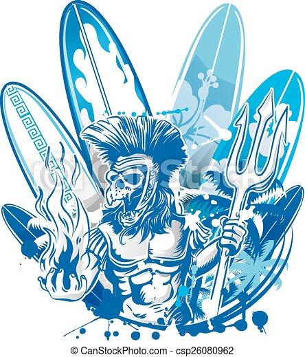 poseidon, surfista, mortos, surfboard - csp26080962