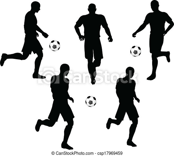 isolated poses of soccer players silhouettes in running position