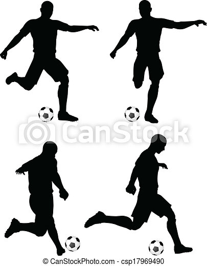 poses of soccer players silhouettes in run and strike position - csp17969490