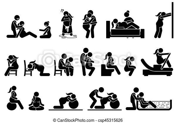 posições, posturas, home., parto, trabalho - csp45315626