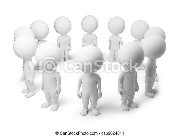 3D personas pequeñas, de pie alrededor - csp3624811
