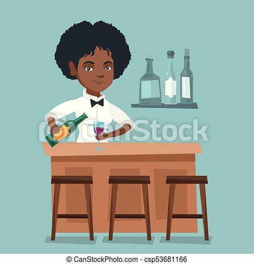 Camarero africano parado en la barra. - csp53681166