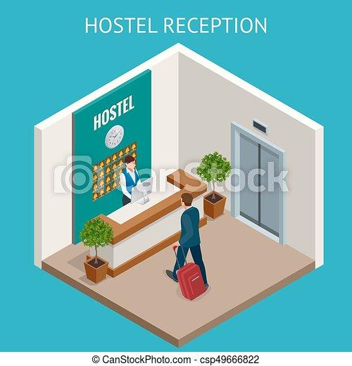 recepcionista de hotel. Recepción moderna de hotel de lujo mostrador de recepción con campana. Una recepcionista feliz parada en el mostrador del hotel. - csp49666822
