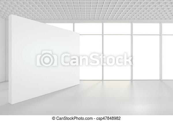 Una gran habitación vacía con carteles de pie. 3D - csp47848982