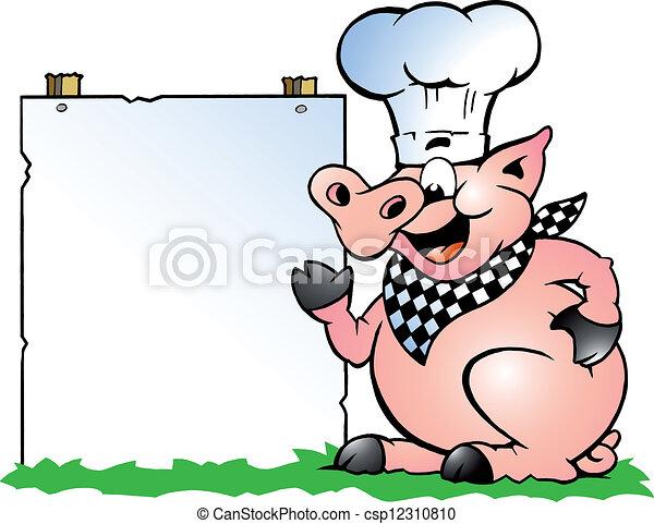 Cerdo Chef parado y apuntando - csp12310810