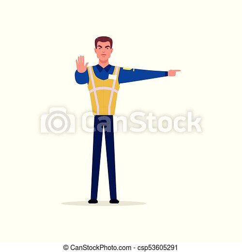 Oficial de la policía de tráfico en uniforme con chalecos de alta visibilidad de pie y mostrando signos con sus manos, personaje de policía en vector de trabajo Ilustración - csp53605291