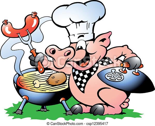 posición, chef, barbacoa, elaboración, cerdo - csp12395417