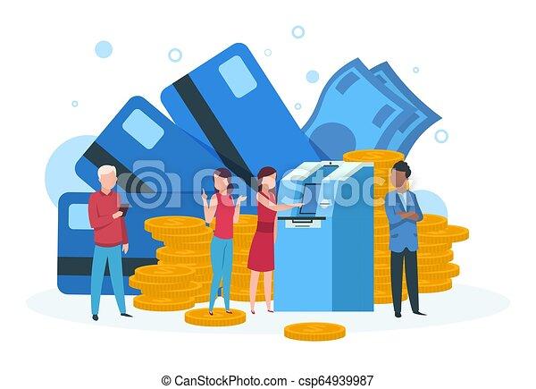 Un concepto comercial. Clientes con dinero de la tarjeta de crédito haciendo fila en la página de aterrizaje del cajero - csp64939987