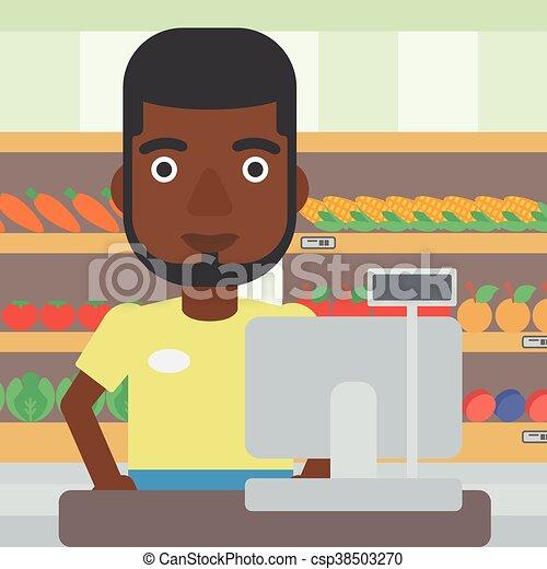 Una caja en el supermercado. - csp38503270