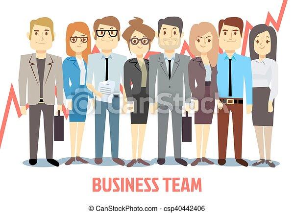 El concepto del equipo de negocios con hombres y mujeres de pie juntos. Dibujos en equipo - csp40442406