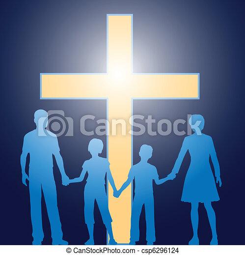 Grficos vectoriales EPS de posicin cristiano familia  cruz