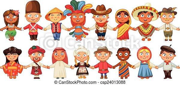 Diferente cultura de pie juntos - csp24013088