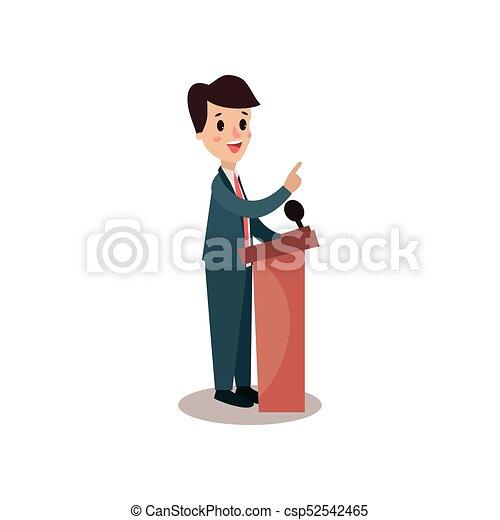 El personaje político detrás de Rostrum y dando un discurso, orador público, debates políticos, vector de Ilustración de vista lateral - csp52542465