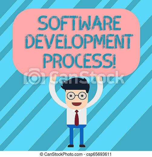 Proceso de desarrollo de software de texto escrito. Concepto de negocios para el proceso de desarrollar un producto de software sostenido por encima de su cabeza en blanco tablero de color rectangular. - csp65693611