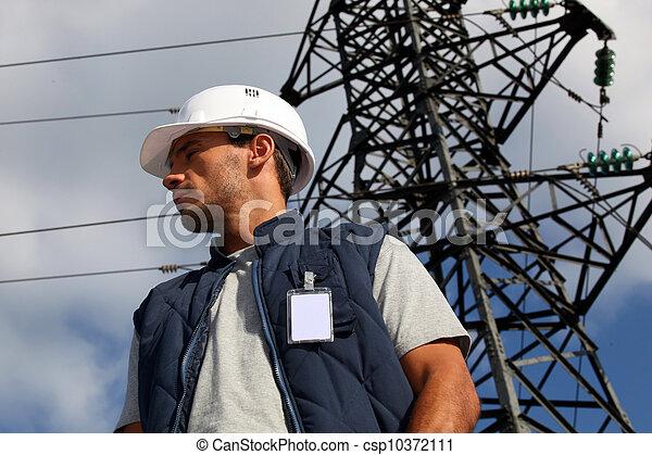 posición, electricidad, trabajador, pilón, frente - csp10372111