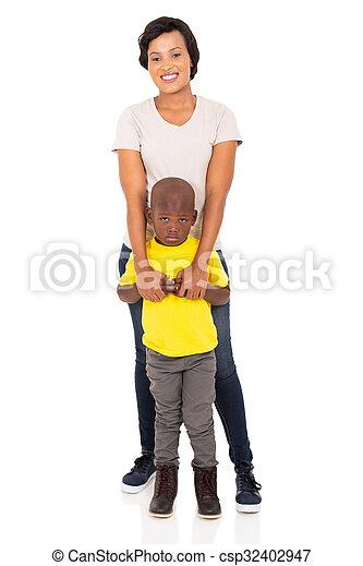 posición, hijo, madre, juntos, africano - csp32402947