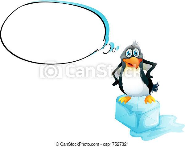 Un pingüino parado sobre un cubo de hielo - csp17527321