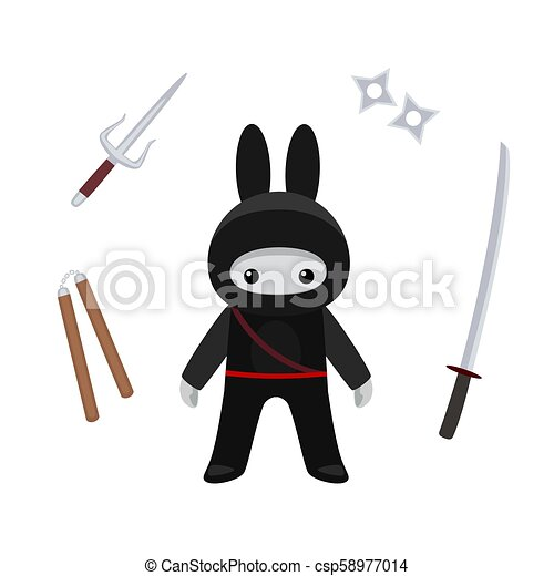 Parado como un mono ninja con armas en el fondo blanco - csp58977014