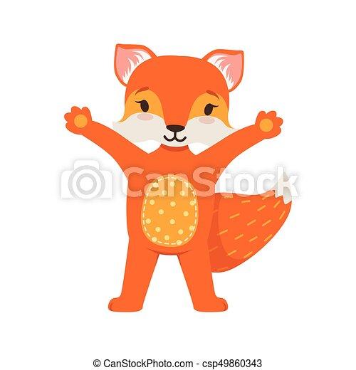 Lindo personaje de zorro naranja con las manos en alto, divertido animal de dibujos animados posando vector Illustración - csp49860343