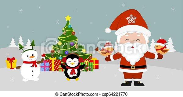 Santa Claus está parado en el árbol de Navidad y sosteniendo pájaros en sus manos. Lindos muñecos de nieve y pingüinos con un regalo en el fondo de invierno. Vacaciones de invierno, estilo de dibujos animados, vector - csp64221770