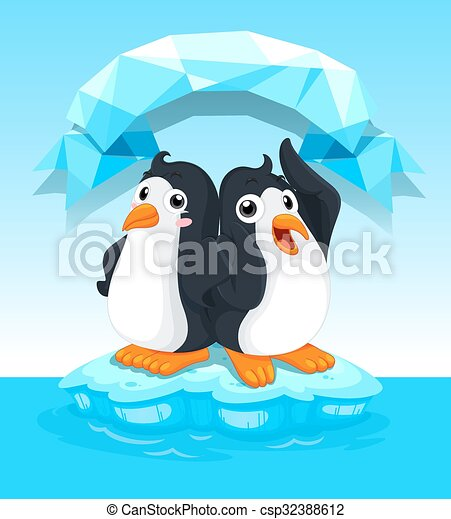 Lindos pingüinos parados sobre hielo - csp32388612