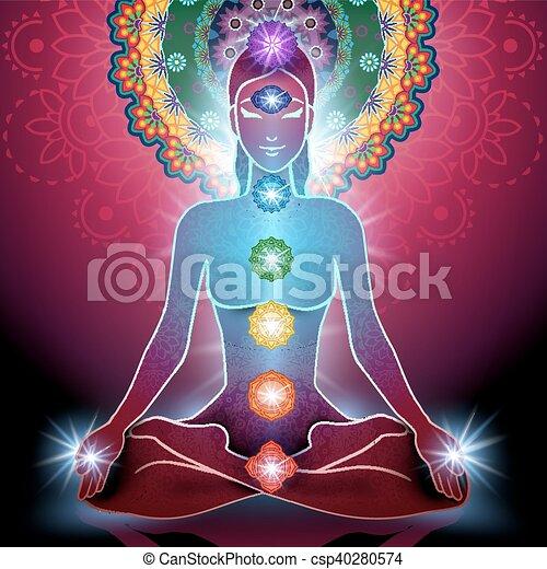 Posición de loto de yoga y chakra - csp40280574