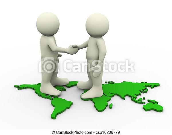 Tres hombres parados en el mapa mundial y estrechando la mano. Tercera ilustración de carácter humano. - csp10236779