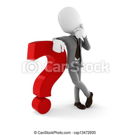 Hombre de negocios de 3D parado cerca de un gran signo de interrogación roja, sobre fondo blanco - csp13472930