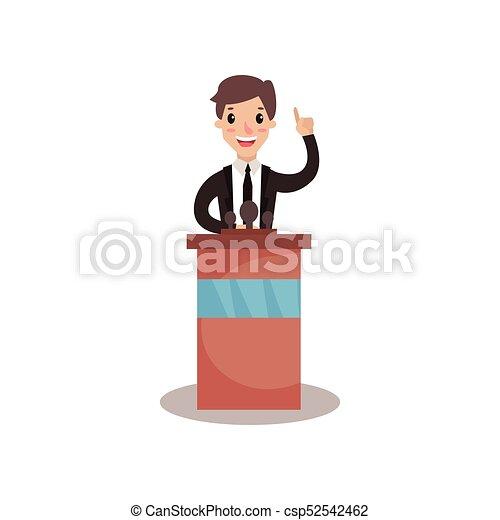 Empresario o político de pie en tribuno con micrófono y dar un discurso, orador público, debates políticos vector de ilustración - csp52542462