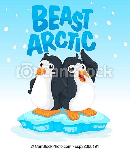 Pingüinos parados en el hielo - csp32388191