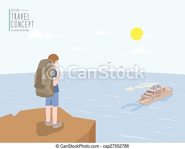 Un baúl parado en un acantilado mirando hacia el mar y el ferry. En un claro día vector plano. - csp27552788