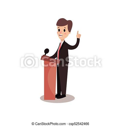 El personaje del hombre político detrás de Rostrum y dando un discurso, orador público, debates políticos vector de la ilustración - csp52542466