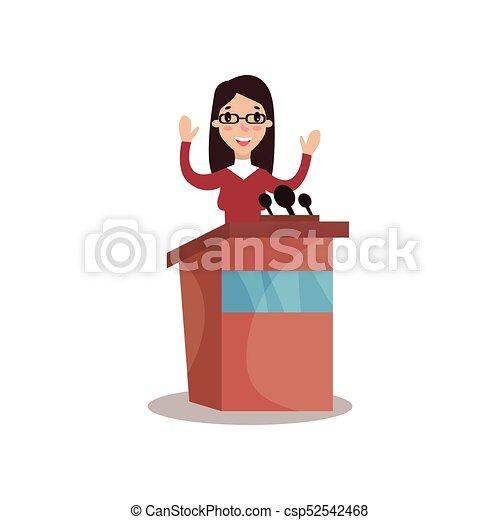 Personaje político femenino de pie detrás de Rostrum con la mano levantada y dando un discurso, orador público, debates políticos vector Ilustración - csp52542468