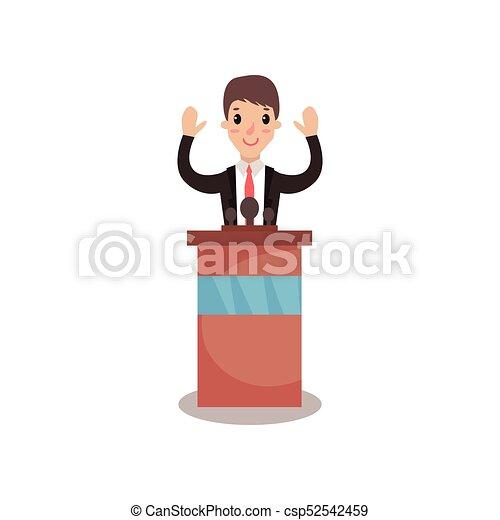El personaje del hombre político detrás de Rostrum levantando las manos y dando un discurso, orador público, debates políticos vector de la Ilustración - csp52542459