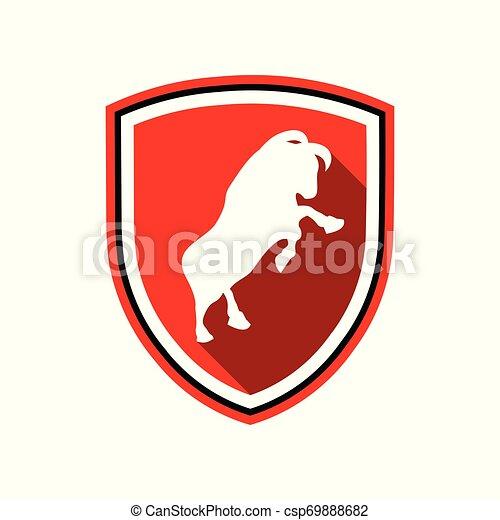 Escudo rojo, símbolo de placa de toro - csp69888682