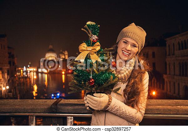 Una joven con un árbol de Navidad parado en un puente en Venecia - csp32897257
