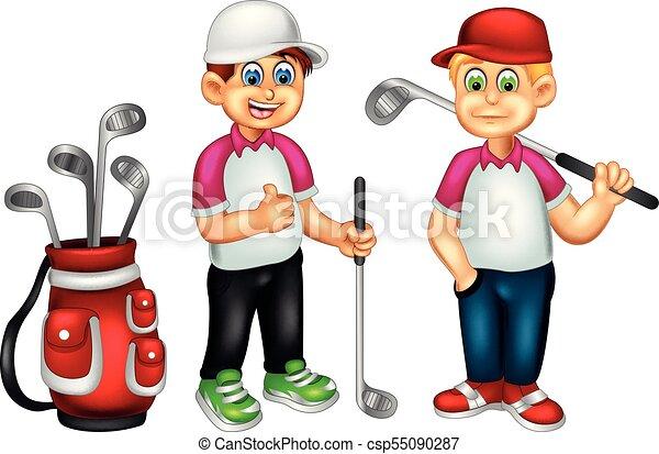 Dulces dibujos animados de golf de pie traen palo con sonrisa y pulgar arriba - csp55090287
