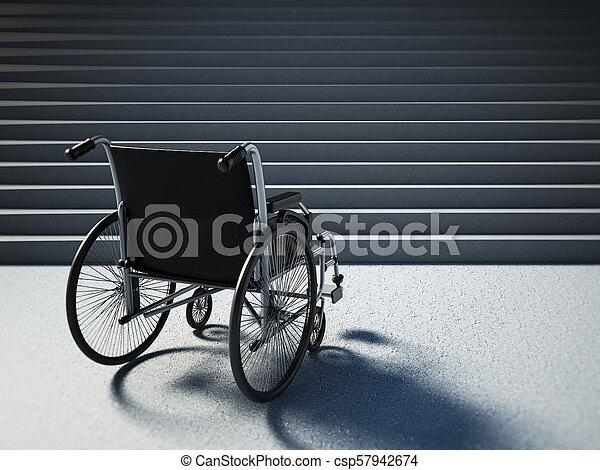 Una silla de ruedas vacía delante de las escaleras empinadas. Ilustración 3D - csp57942674
