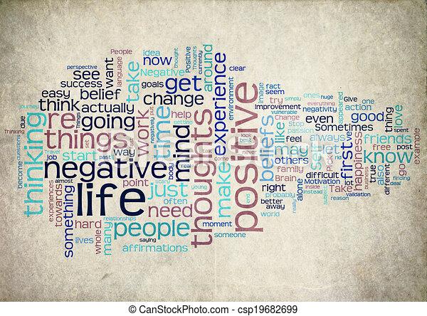 positief, leven, woord, wolk - csp19682699