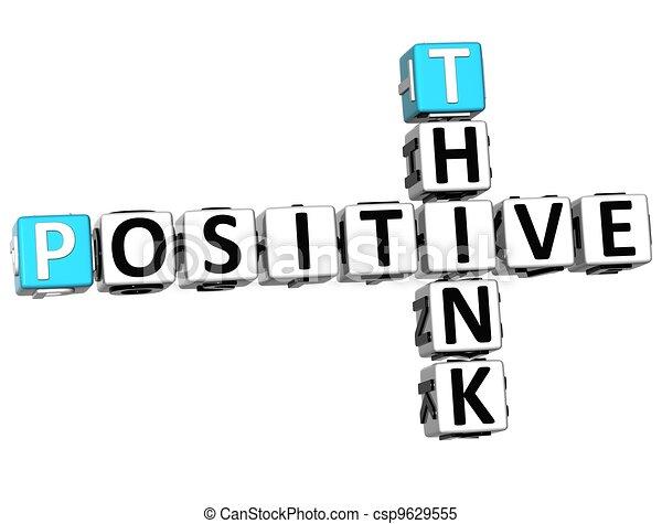 positif, 3d, penser, mots croisés - csp9629555