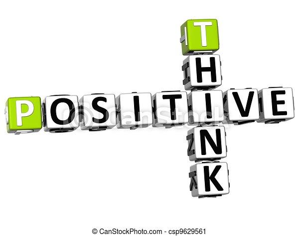 positif, 3d, penser, mots croisés - csp9629561