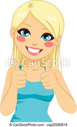 positif, blond, femme, pouces haut - csp25290818