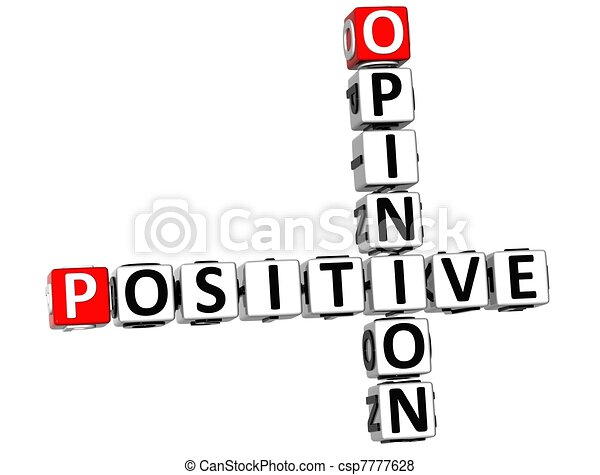 positif, mots croisés, 3d, opinion - csp7777628