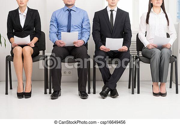 position., kap cv ø, har, kappes, æn, ansøgerene, fire, hans, hånd - csp16649456