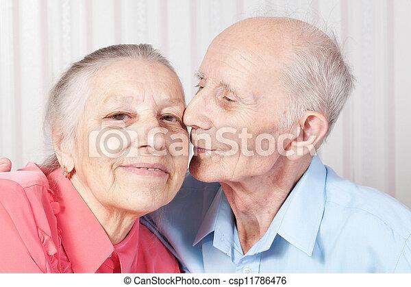 Positive elderly couple happy - csp11786476