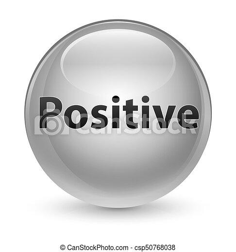 Positive glassy white round button - csp50768038