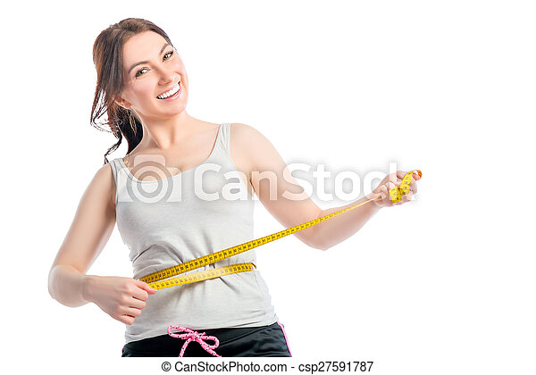 positive slender girl with centimeter at the waist - csp27591787