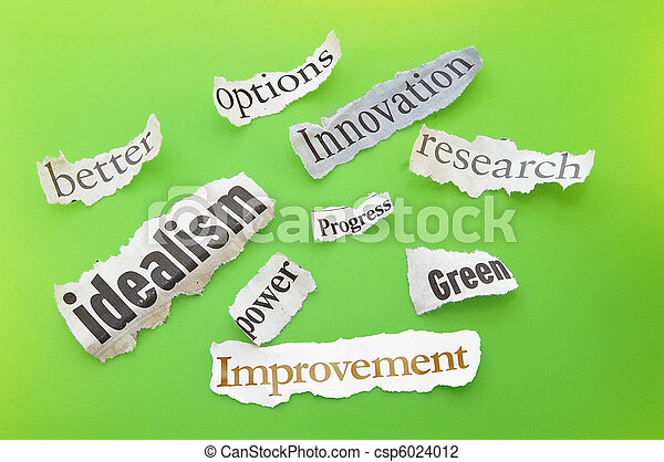 positive themed newspaper headlines on green - csp6024012