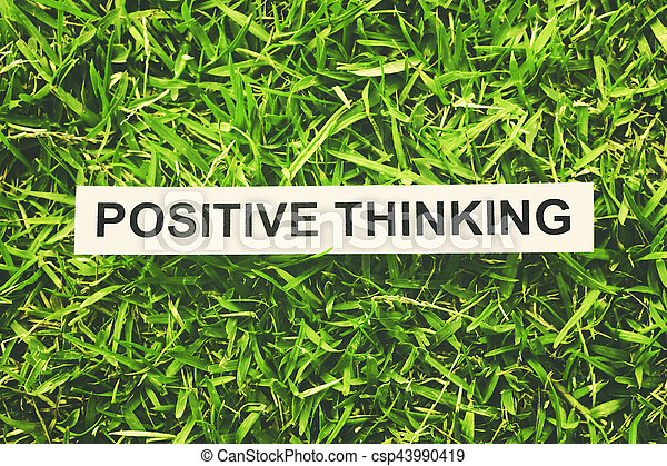 word positive thinking paper on green grass retro style stock  positive thinking stock photo