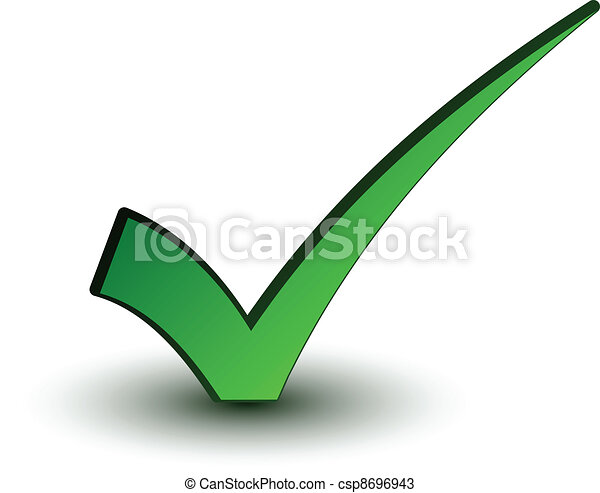 positivo, checkmark, vetorial, verde - csp8696943